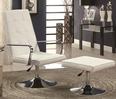 Chair and Ottoman Set in White and Chrome