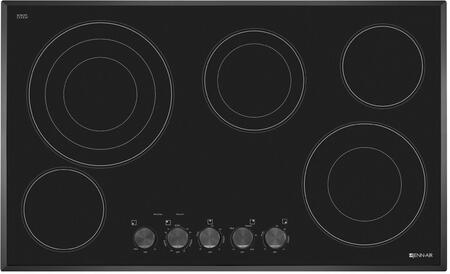 "Jenn-Air JEC3536BT 36"" Electric Cooktop with 5 Radiant Elements, Euro-Style Barrel Knobs, Elegant Beveled Glass Edge, Black Floating Glass Design, in"