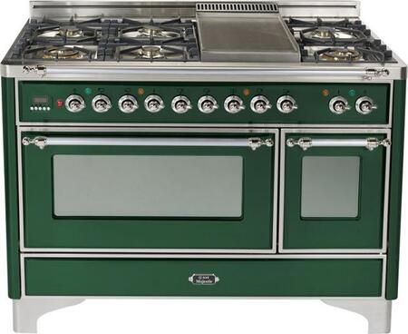 """Ilve UM120FMPVSX 48"""" Majestic Series Dual Fuel Freestanding Range with Sealed Burner Cooktop, 2.8 cu. ft. Primary Oven Capacity, Warming in Emerald Green"""