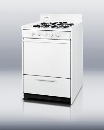 "Summit WNM610P 24"" Gas Freestanding Range with Open Burner Cooktop, 2.9 cu. ft. Primary Oven Capacity, Broiler in White"