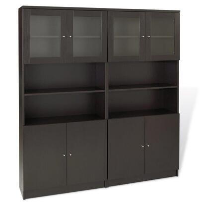 Unique Furniture 1C100022DXX Double Bookcase w/ Wood & Glass Doors