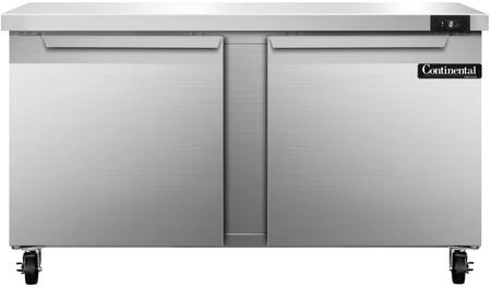 """Continental Refrigerator SWF6 60"""" Worktop Freezer with 17 Cu. Ft. Capacity, Stainless Steel Exterior and Interior, 5"""" Casters, Interior Hanging Thermometer, and Environmentally-Safe Refrigerant, in Stainless Steel"""