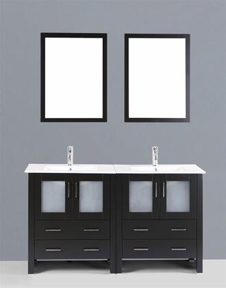 "Bosconi AB230UXX  XX"" Double Vanity with Ceramic Counter Top, Undermount Ceramic Basin Sinks, 2 Matching Mirrors, X Soft Closing Drawers, 2 Cabinets, and Silver Hardware Finish in Espresso Finish"