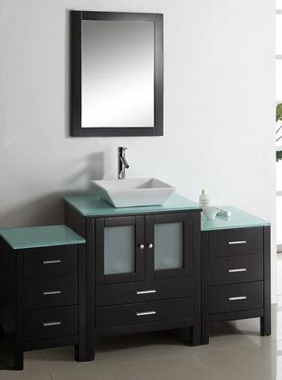 "Virtu USA Brentford 63"" MS-4463-x-ES Single Sink Bathroom Vanity in Espresso Finish with x Countertop, Matching Framed Mirror, 2 Doors, 8 Doweled Drawers and Brushed Nickel Hardware"