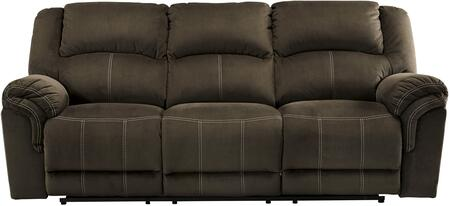"Signature Design by Ashley 950778 Quinnlyn 89"" Reclining Sofa with Jumbo Stitching, Metal Frame and Fabric Upholstery in Coffee Color"