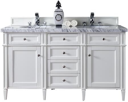 "James Martin Brittany Collection 650-V60D-CWH- 60"" Cottage White Double Vanity with Six Drawers, Two Doors, Tapered Legs, Satin Nickel Hardware and"