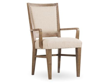 """Hooker Furniture Studio 7H Series 5382-754 37.75"""" Casual-Style Dining Room Stol Upholstered Chair with Nail Head Accents, Tapered Legs and Fabric Upholstery in Beige"""