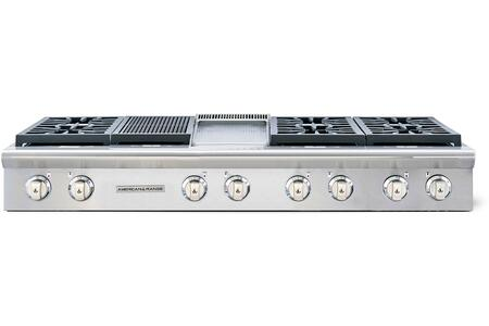 """American Range Legend Series ARSCT-606GDGR 60"""" Sealed Burner Gas Rangetop With 6 Sealed Burners, 11"""" Griddle, 11"""" Grill, Fail-safe System, Pro-Style, Slide-In, Electronic Ignition, In Stainless Steel"""