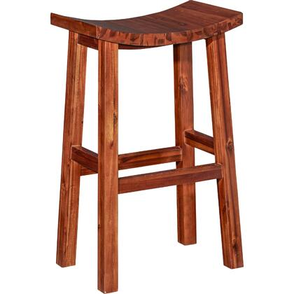 Powell Carmen Collection D1021B16 Stool with Saddle Seat, Acacia Wood and Stretchers in Dark Natural Finish