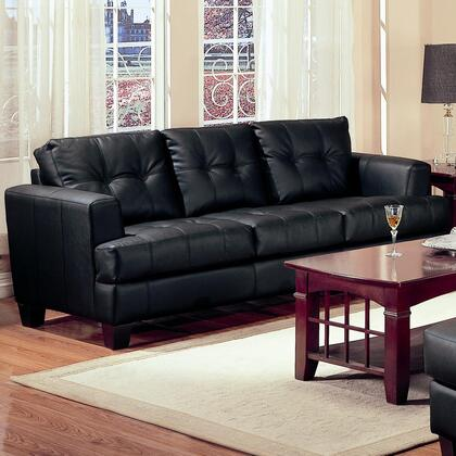 "Coaster Samuel 85"" Stationary Sofa with Attached Seat Cushions, Sinuous Spring Base, Jumbo Stitching and Bonded Leather Upholstery in"