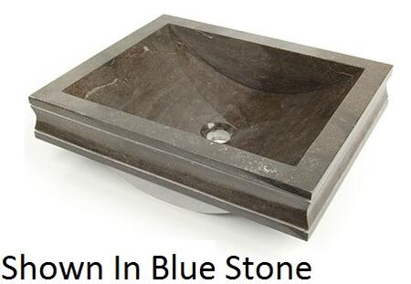 D'Vontz VEN5141 Venice Drop-In Vessel Sink With Natural Stone Construction & In