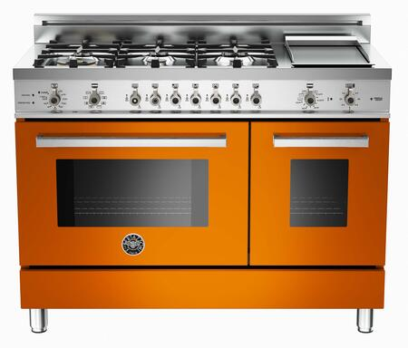 "Bertazzoni PRO486GDFSARLP 48"" Professional Series Dual Fuel Freestanding Range with Sealed Burner Cooktop, 3.4 cu. ft. Primary Oven Capacity, in Orange"