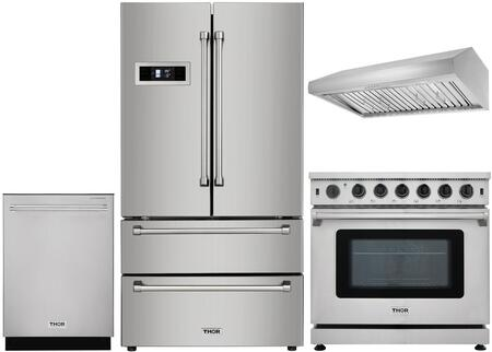 Thor Kitchen 802385 4 Piece Stainless Steel Kitchen Appliances Package