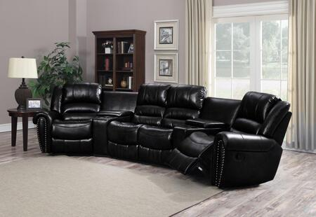 Chintaly LAREDOXPC Living Room Set Reclining Bonded Leather Sectional
