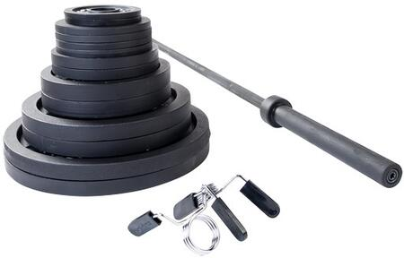 Body Solid OSBS Black Cast Iron Olympic Plates Set with Included Black Olympic Bar and Spring Collars