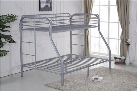 Glory Furniture G0017GRAY G0017 Series  Twin over Full Size Bunk Bed