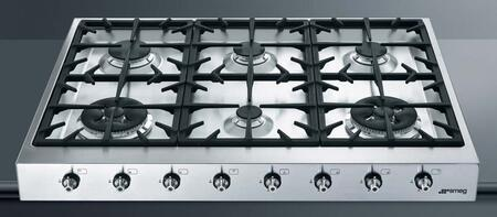 """Smeg HB96CXU3 36""""  Gas Sealed Burner Style Cooktop, in Stainless Steel"""