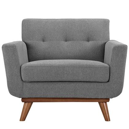 Modway EEI1178GRY Engage Series Fabric Armchair with Wood Frame in Expectation Grey