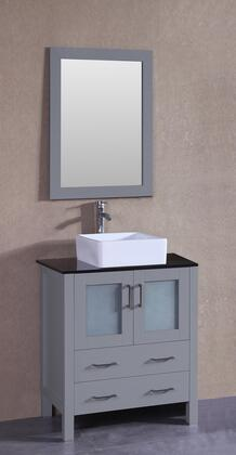 "Bosconi AGR130CBEBGX XX"" Single Vanity with Black Tempered Glass Top, Square White Ceramic Vessel Sink, F-S02 Faucet, Mirror, 2 Doors and X Drawers in Grey"