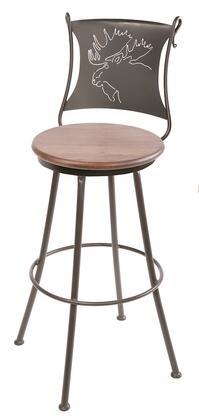 Stone County Ironworks 904001FAUXEMW Bull Moose Series  Bar Stool