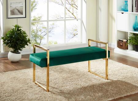 "Meridian Olivia Collection 111X 43"" Bench with Velvet Upholstery, Stainless Steel and Contemporary Style in"