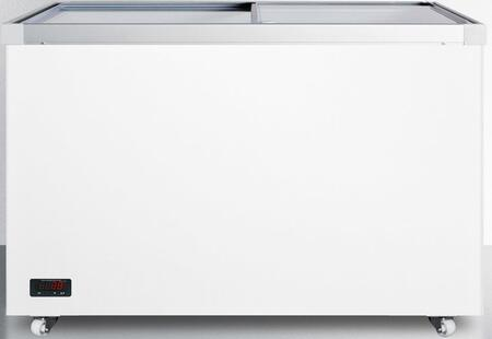 Summit SCFx2DT Commercial Sliding Glass Top Storage Freezer with Sleek Aluminun Frames, Casters, Digital Thermostat, Manual Defrost and Fan Cooled Compressor in White