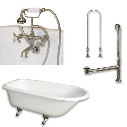 """Cambridge RR61463BTWPKG Cast Iron Rolled Rim Clawfoot Tub 61"""" x 30"""" with 3 3/8"""" Bathtub Wall Faucet Drillings and British Telephone Style Faucet Complete Plumbing Package"""