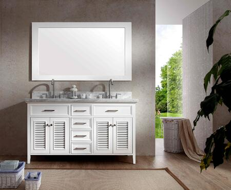"Ariel D061D ARIEL Kensington 61"" Double Sink Vanity Set with Marble Top, Mirror, Eight Drawers and Two Doors in"