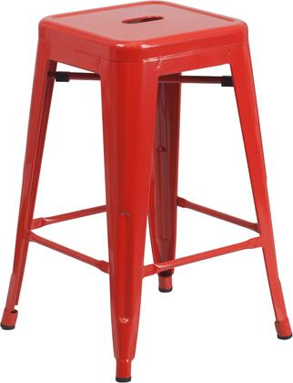 "Flash Furniture CH3132024GG 24"" High Backless Metal Indoor-Outdoor Counter Height Stool with Square Seat"