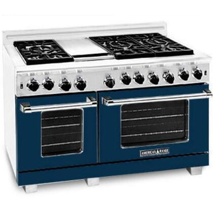 """American Range ARR4842GR214430 48"""" Heritage Classic Series Gas Freestanding Range with Sealed Burner Cooktop, 4.8 cu. ft. Primary Oven Capacity, in Rosemary Spring"""
