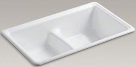 "Kohler Deerfield K-5838-X 33"" Top-Mount/Under-Mount Smart Divide Double-Equal Bowl Kitchen Sink With 2 Basins, Enameled Cast Iron, Center Drain Location, In"