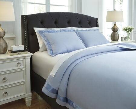 Signature Design by Ashley Farday Q7550 3 PC King Size Duvet Cover Set includes 1 Duvet Cover and 2 Standard Shams with Solid Design, Satin Trim, Cotton and Polyester Material in Color