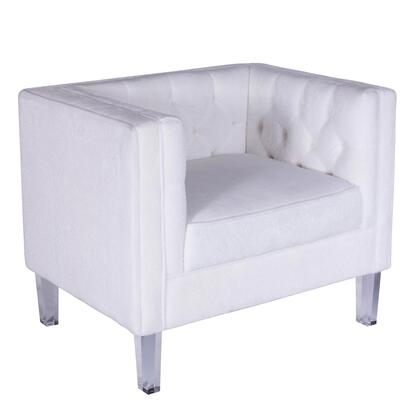 "LumiSource Valentina CH-VALTINA 27"" Chair with Tufted Interior, Mohair Upholstery and Acrylic Legs in"