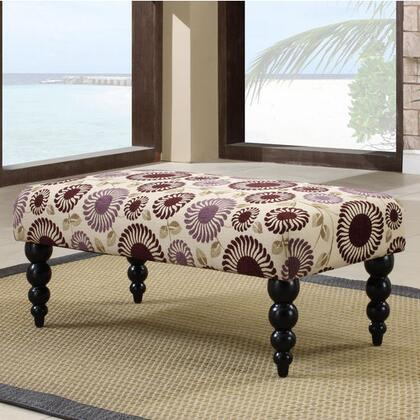 Linon 36110PFLR01KDU Claire Series Accent Armless Wood Fabric Bench