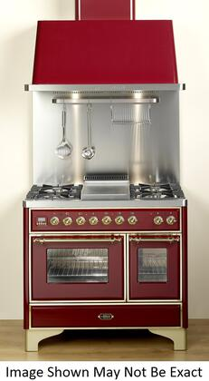 Ilve UMD100SMPB Majestic Series Dual Fuel Freestanding Range with Sealed Burner Cooktop, 2.44 cu. ft. Primary Oven Capacity, Warming in White