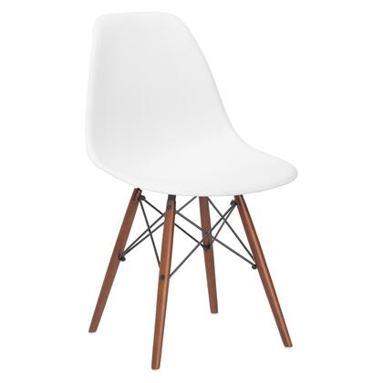 EdgeMod EM105WALWHI Vortex Series Modern Wood Frame Dining Room Chair