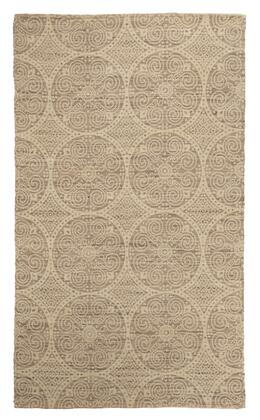 Milo Italia Rolando RG449225TM X Size Rug with Handwoven Printed Medallion Design, Jute Material and Backed with Cotton in Sage Color