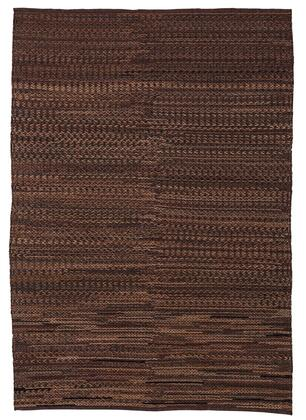"Signature Design by Ashley Ban R40100 "" x  "" Size Rug with hand Braided Pattern, Hand-Woven Made, Leather Material and Dry Clean Only in Brown Color"