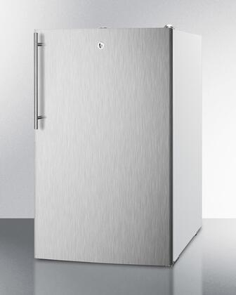"Summit CM411LSSHY 20"" Medically Approved & ADA Compliant Compact Refrigerator with 4.1 cu. ft. Capacity, Professional Vertical Handle, Interior Light and Manual Defrost, in Stainless Steel"