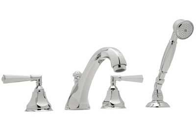 Rohl A1904LM Transitional Palladian Series 4-Hole Deck Mount Tub Filler With Handshower: