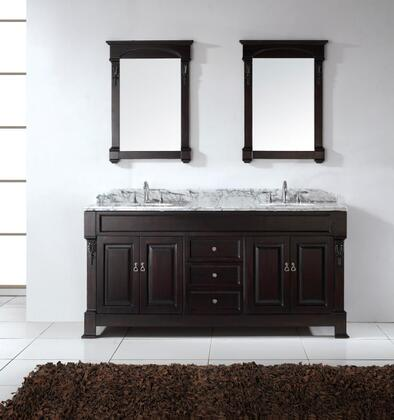 "Virtu USA GD-4072 Virtu USA 72"" Huntshire Double Sinks Bathroom Vanity with Two Mirrors in Dark Walnut with Italian Carrara White Marble"