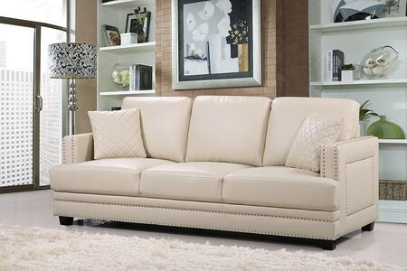"Meridian Ferrara 655-S 84"" Sofa with Top Quality Bonded Leather Upholstery, Silver Nail Heads Design and Quilted Pillows in"