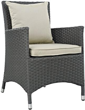 """Modway Sojourn Collection EEI-1924-CHC- 25"""" Dining Outdoor Patio Sunbrella Armchair with Synthetic Rattan Weave, Powder Coated Aluminum Frame, UV and Water Resistant in"""