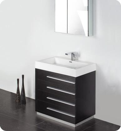 "Fresca Livello Collection FVN8030 30"" Modern Bathroom Vanity with Medicine Cabinet, Soft Closing Drawers and Integrated Acrylic Countertop & Sink in"