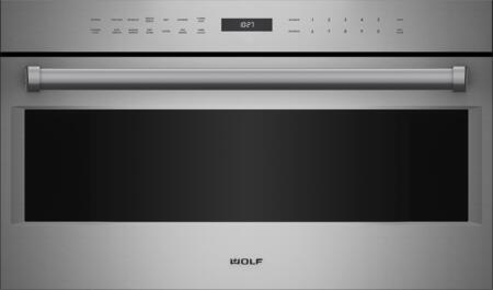 """Wolf MDD30 30"""" E Series Drop Down Door Microwave Oven with 1.6 cu. ft. Capacity, 9 Cooking Modes, 900 Watts, Gourmet Mode, Keep Warm Mode, and Gourmet Mode, in Stainless Steel"""