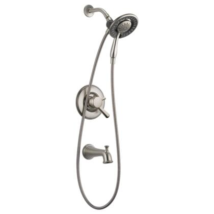 Linden T17493-SS-I Delta Linden: Monitor 17 Series Tub and Shower Trim with In2ition Two-in-One Shower in Stainless