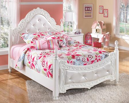 Signature Design by Ashley Exquisite B188POST X Size Poster Bed with Padded Headboard and Footboard, Crystal-Like Accents on the Posts and Embossed Details in White