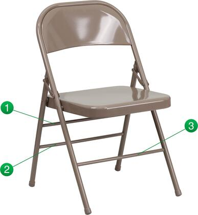 "Flash Furniture HF3-MC-309AS-XX-GG HERCULES Series 16.5"" Triple Braced & Quad Hinged Metal Folding Chair with Triple Braced 18-Gauge Steel Frame and Non-Marring Glides"