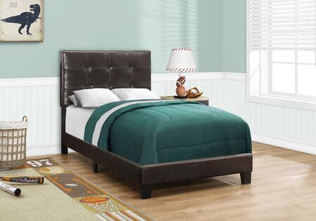 Monarch I5922BED Bed with Faux Leather Upholstery, Button Tufted Headboard and Solid Wood Block Feet in Dark Brown