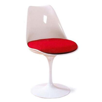 Fine Mod Imports FMI1139WHITERED Flower Series Dining Material: Sueded Molded Fiberglass Frame Accent Chair